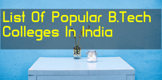 List Of Popular B.Tech Colleges In India