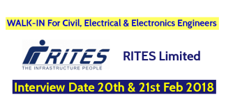 RITES Limited WALK-IN For Civil, Electrical And Electronics Engineers - Interview Date 20th & 21st Feb 2018