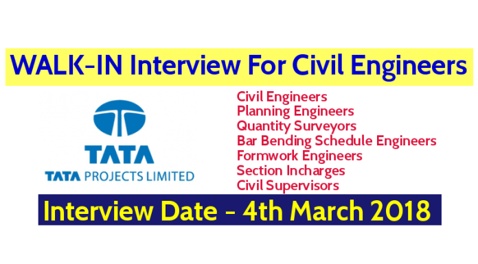 Tata Projects Limited WALK-IN Interview For Civil Engineers - Interview Date - 4th March 2018