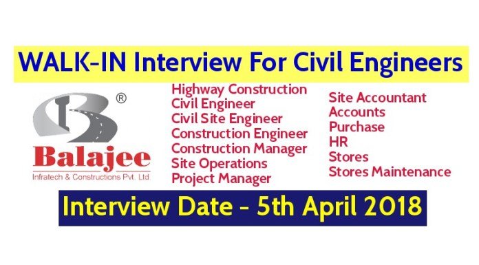Balajee Infratech And Constructions Pvt Ltd WALK-IN For Civil Engineers - Interview Date - 5th April 2018