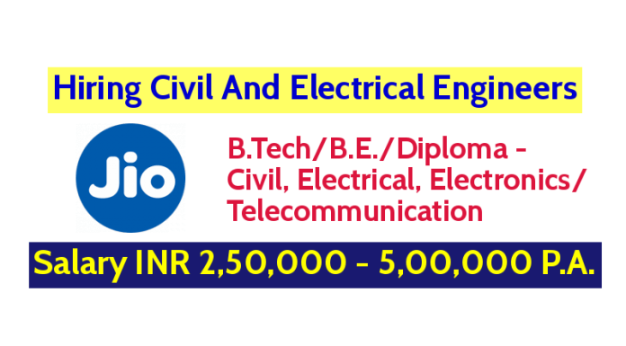 Reliance Jio Infocomm Ltd Hiring Civil And Electrical Engineers Salary INR 2,50,000 - 5,00,000 P.A.