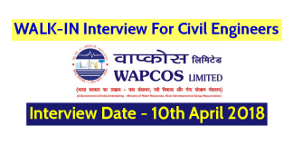 WAPCOS Limited WALK-IN For Civil Engineers – Interview Date - 10th April 2018