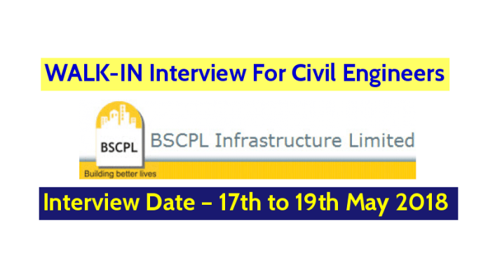 BSCPL Infrastructure Limited WALK-IN For Civil Engineers – Interview Date – 17th to 19th May 2018