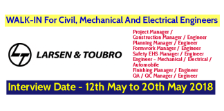 Larsen & Toubro Limited WALK-IN For Civil, Mechanical And Electrical Engineers - Interview Date - 12th May to 20th May 2018