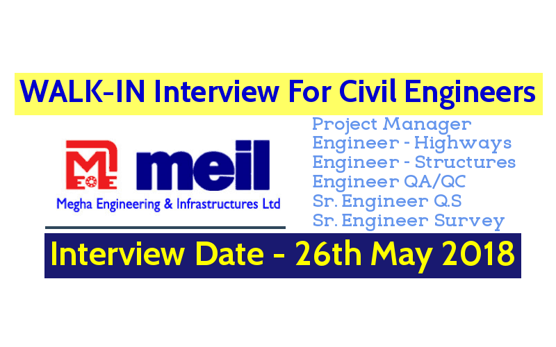 Megha Engineering and Infrastructures Ltd WALK-IN For Civil Engineers Interview Date - 26th May 2018