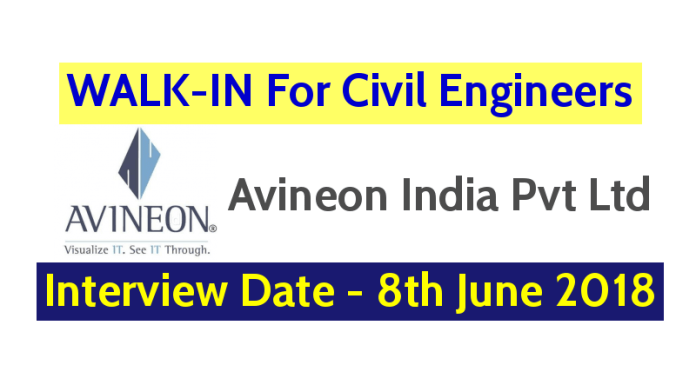 Avineon India Pvt Ltd WALK-IN For Civil Engineers Interview Date - 8th June 2018