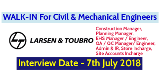 Larsen & Toubro Limited WALK-IN For Civil & Mechanical Engineers Interview Date - 7th July 2018