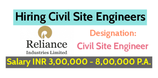 Reliance Industries Ltd Hiring Civil Site Engineers Salary INR 3,00,000 - 8,00,000 P.A. Apply Now