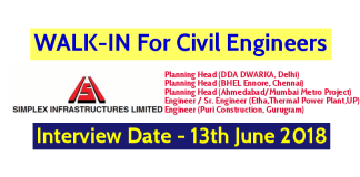 Simplex Infrastructures Ltd WALK-IN For Civil Engineers Interview Date - 13th June 2018
