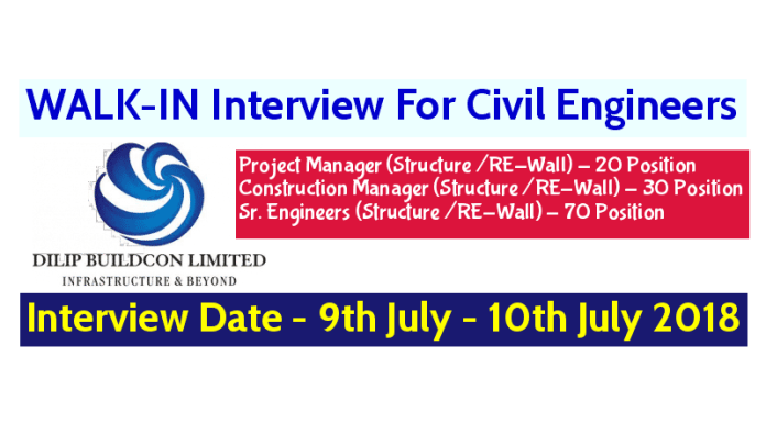 Dilip Buildcon Ltd WALK-IN For Civil Engineers Interview Date - 9th July - 10th July 2018