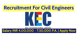 KEC International Ltd Hiring Civil Engineers Salary INR 4,00,000 - 7,50,000 P.A. Apply Now