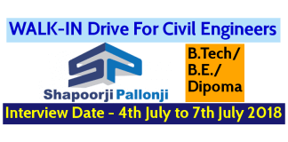 Shapoorji Pallonji Groups WALK-IN For Civil Engineers Interview Date - 4th July to 7th July 2018