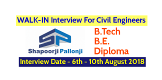 Shapoorji Pallonji Groups WALK-IN For Civil Engineers Interview Date - 6th August - 10th August 2018