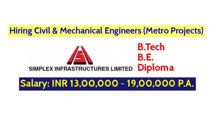 Simplex Infrastructures Limited Hiring Civil & Mechanical Engineers (Metro Projects) B.TechB.E.Diploma Engineers