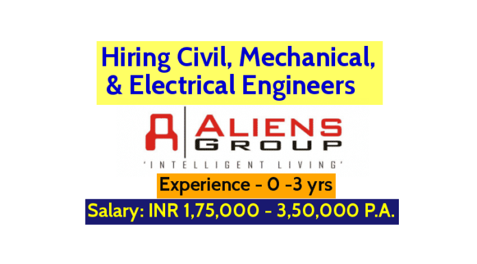 Aliens developers Pvt Ltd Hiring Civil, Mechanical, & Electrical Engineers Exp - 0 -3 yrs (Purchase Executive)
