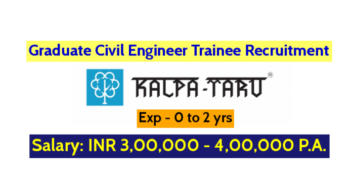 Graduate Civil Engineer Trainee Recruitment Exp - 0 to 2 yrs Kalpataru Limited