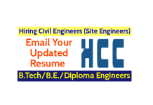 Hindustan Construction Company Ltd Hiring Civil Engineers (Site Engineers) B.TechB.E.Diploma Engineers