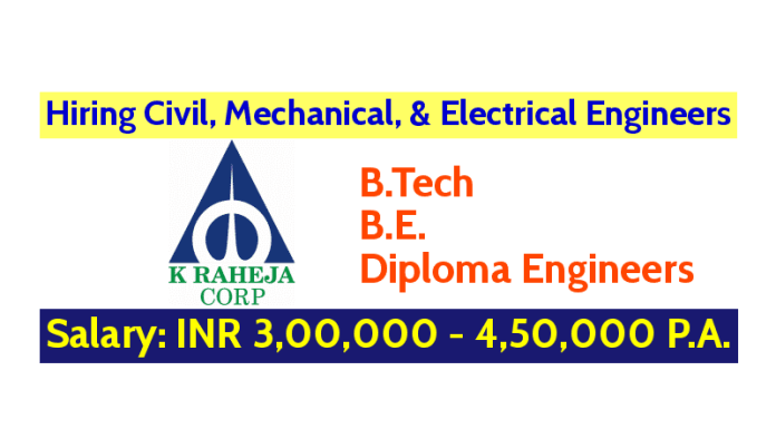K Raheja Corporate Services Pvt Ltd Hiring Civil, Mechanical, & Electrical Engineers B.TechB.E.Diploma Engineers