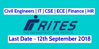 RITES Ltd Recruitment 2018 Civil Engineers IT CSE ECE Finance HR Last Date - 12092018