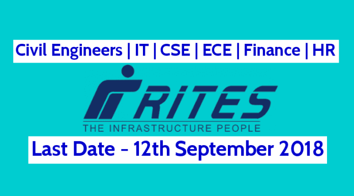 RITES Ltd Recruitment 2018 Civil Engineers IT CSE ECE Finance HR Last Date - 12092018
