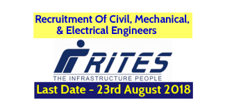 RITES Ltd Recruitment - Hiring Civil, Mechanical, & Electrical Engineers Last Date - 23082018