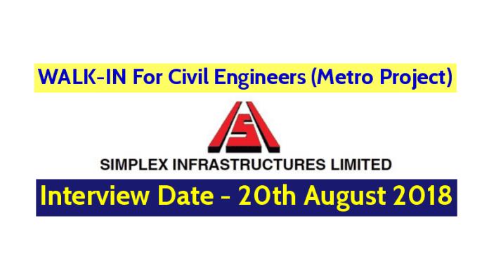 Simplex Infrastructures Ltd WALK-IN For Civil Engineers (Metro Project) Interview Date - 20082018