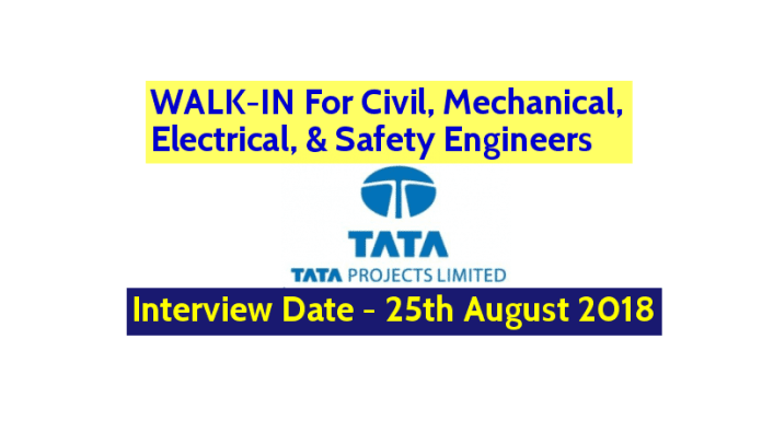 WALK-IN For Civil, Mechanical, Electrical, & Safety Engineers Tata Projects Ltd Interview Date - 25th August 2018