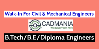 Walk-In For Civil & Mechanical Engineers B.TechB.EDiploma Cadmania