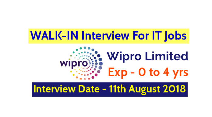 Wipro Limited WALK-IN Interview For IT Jobs Exp - 0 to 4 yrs Interview Date - 11th August 2018