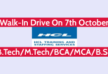 HCL Recruitment 2018 Walk-In Drive On 7th October B.TechM.TechBCAMCAB.Sc