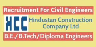 Hindustan Construction Company Ltd Recruitment For Civil Engineers B.E.B.TechDiploma Engineers
