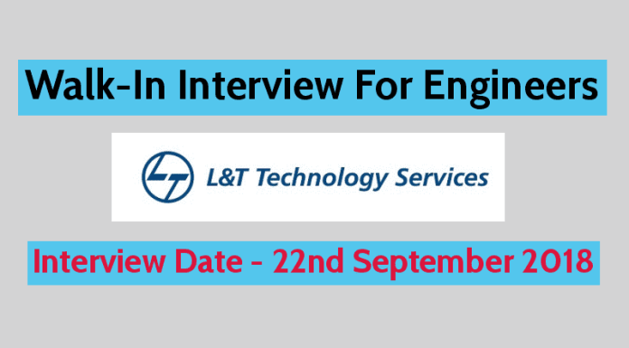 Larsen & Toubro Limited Walk-In Interview For Engineers 1-3 Years Interview Date - 22nd September 2018
