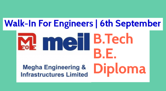 Megha Engineering and Infrastructures Ltd Walk-In For Engineers 6th September 0 - 5 Years