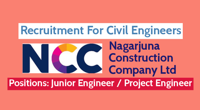 Nagarjuna Construction Company Ltd Recruitment For Civil Engineers DiplomaB.TechB.E.M.Tech (CIVIL)