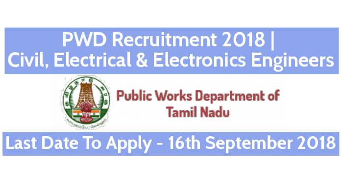 PWD Recruitment 2018 Civil, Electrical & Electronics Engineers Graduate & Diploma Apprentice