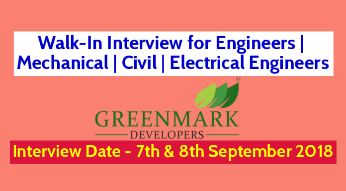 Walk-In Interview for Engineers Mechanical Civil Electrical Engineers Date - 7th & 8th September 2018