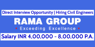 Direct Interview Opportunity Hiring Civil Engineers Rama Builders and Developers 4,00,000 - 8,00,000 P.A.