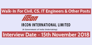 Ircon Recruitment - Walk-In For Civil, CS, IT Engineers & Other Posts Date - 15112018