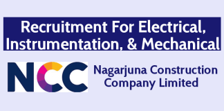 Nagarjuna Construction Company Recruitment For Electrical, Instrumentation, & Mechanical