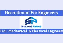 Shapoorji Pallonji Recruitment For Engineers Civil, Mechanical, & Electrical Engineers Mumbai