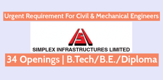 Urgent Requirement For Civil & Mechanical Engineers Simplex Infrastructures Ltd 34 Openings