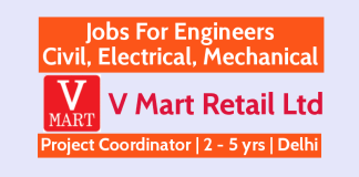V Mart Retail Ltd - Jobs For Engineers - Civil, Electrical, Mechanical - Project Coordinator