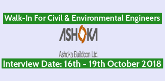 Walk-In For Civil & Environmental Engineers 16th October - 19th October Ashoka Buildcon Ltd