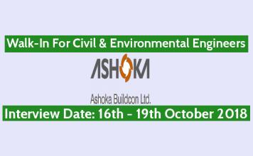 Walk-In For Civil & Environmental Engineers 16th October - 19th October Ashoka Buildcon Ltd
