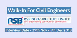 RSB Infrastructure Ltd Walk-In For Civil Engineers Interview Date - 29th Nov - 5th Dec 2018