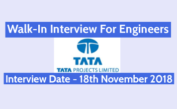 Tata Projects Ltd Walk-In For Engineers Interview Date - 18th November 2018