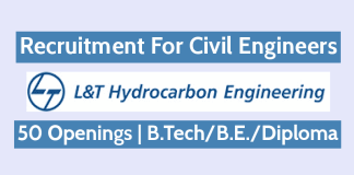 L&T Hydrocarbon Engineering Recruitment For Civil Engineers 50 Openings B.TechB.E.Diploma