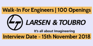 L&T Ltd Recruitment Walk-In For Engineers 100 Openings OHE - B.TechB.E.Diploma Interview Date - 15th November 2018