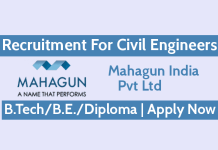 Mahagun India Pvt Ltd Jobs - Recruitment For Civil Engineers B.TechB.E.Diploma Apply Now