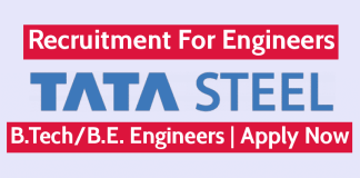 TATA Steel Recruitment For Engineers B.TechB.E. Engineers Apply Now